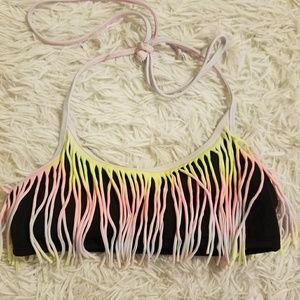 Vs pink flounce tassel rainbow bikini swim S tie